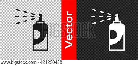 Black Spray Can For Hairspray, Deodorant, Antiperspirant Icon Isolated On Transparent Background. Ve