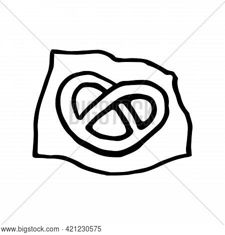 Hand Drawn Pretzel On A Paper Napkin. Snack Symbol In Doodle Style. Vector Illustration Isolated On
