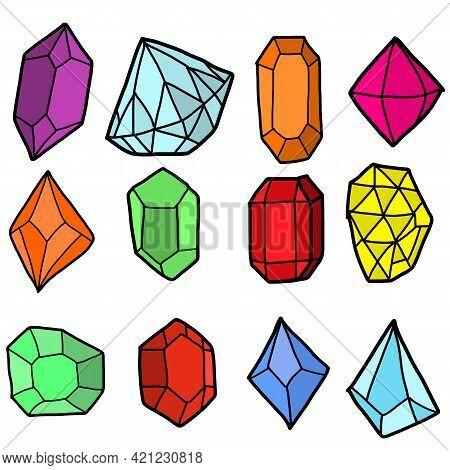 Illustration Set Of Precious Stones Of Different Cuts And Colors. Flat Design Of Gemstones Set Illus