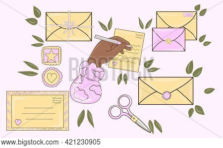 Various Envelopes With Mail, Postmarks, Postcards. Different Objects, Craft Paper. Letter In Envelop