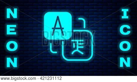Glowing Neon Translator Icon Isolated On Brick Wall Background. Foreign Language Conversation Icons