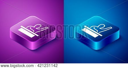 Isometric Active Male Kid Raising Hand Answering To Teacher Question Icon Isolated On Blue And Purpl