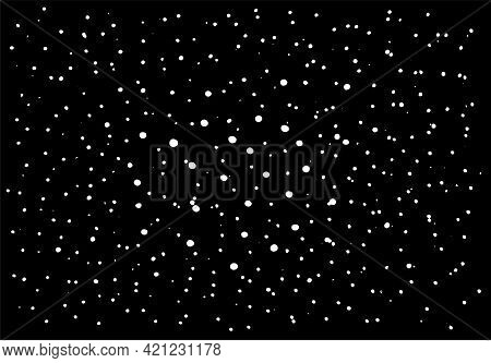 Black And White Vector Texture, Lots Of Large And Small Dots Randomly Arranged, Cosmic Dust, Explosi
