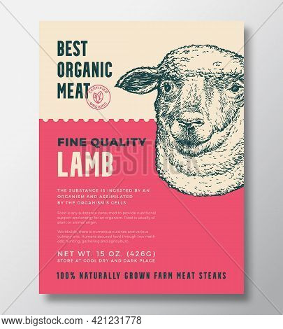Animal Portrait Organic Meat Abstract Vector Packaging Design Or Label Template. Farm Grown Steaks B