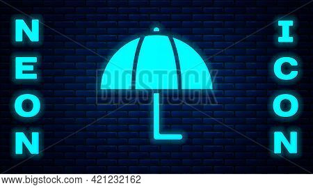 Glowing Neon Umbrella Icon Isolated On Brick Wall Background. Insurance Concept. Waterproof Icon. Pr
