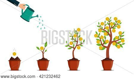 Money Tree With Coin In Pot. Hand With Watering Can For Grow Currency. Business Investment Concept.