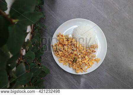 Omelet Or Thai Omelet, Thai Omelette Or Stir Fried Egg With Rice For Serve