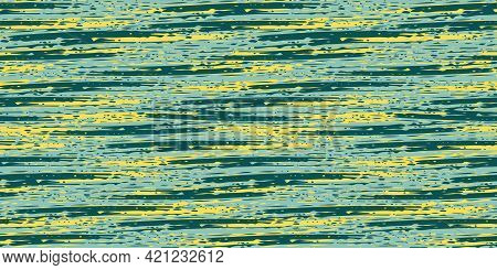 Abstract Painterly Flame Stitch Vector Seamless Border Background. Banner With Malachite Green And Y