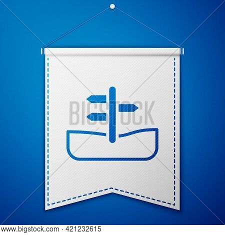 Blue Road Traffic Sign. Signpost Icon Isolated On Blue Background. Pointer Symbol. Isolated Street I