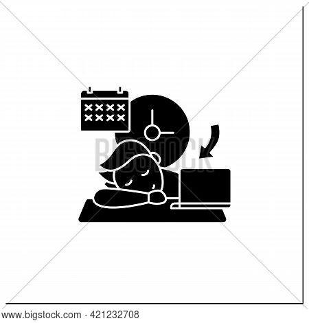 Crisis Marker Procrastinator Glyph Icon.laziness. Defer Task. Sleep At Workplace. Working On Stressf