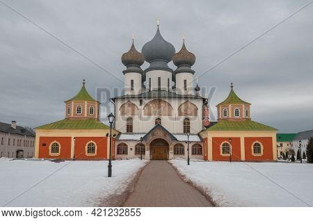 Ancient Assumption Cathedral On A Gloomy March Day. Tikhvin Assumption Monastery Of The Theotokos. L