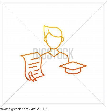 Undergraduate Student Gradient Icon. Personal Growth. Education Process. Bachelor Degree. Person Stu