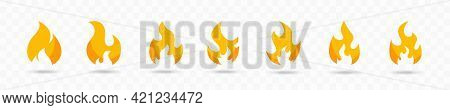 Yellow Fire Icons Flat Collection. Fire Flame Icons. Fire Safety Vector Illustration. Vector Flame I