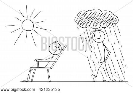 Man Is Enjoying Nice Day And Good Mood And Another Person Is Going In Bad Mood, Vector Cartoon Stick