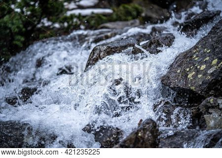 Mountain River Swiftly Descend Over The Stones, From A Close Distance, Incredible Wildlife