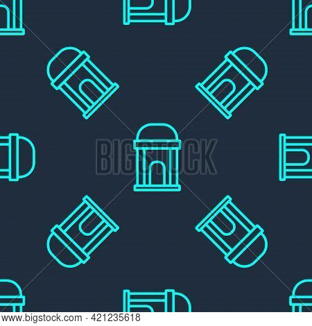 Green Line Old Crypt Icon Isolated Seamless Pattern On Blue Background. Cemetery Symbol. Ossuary Or