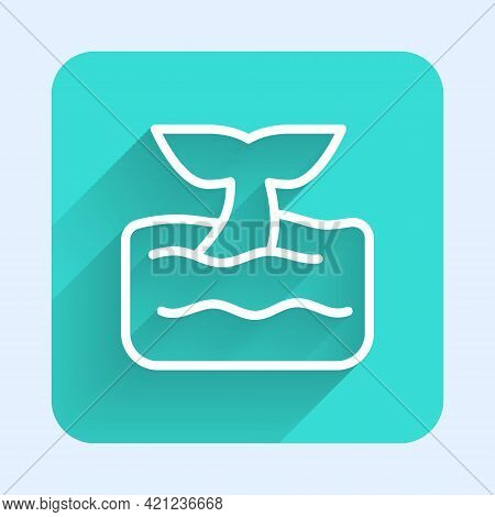 White Line Whale Tail In Ocean Wave Icon Isolated With Long Shadow. Green Square Button. Vector