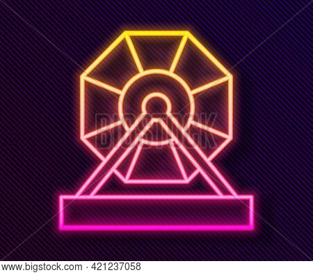 Glowing Neon Line Lottery Machine Icon Isolated On Black Background. Lotto Bingo Game Of Luck Concep