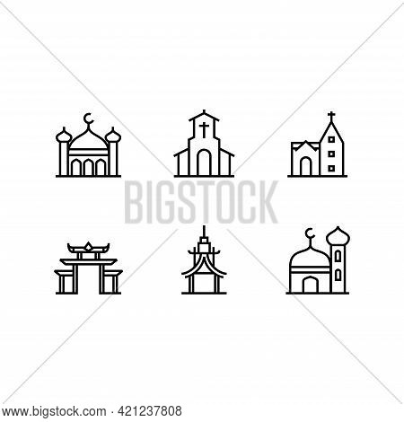 Place Of Worship Building Icon Line Set Vector Template