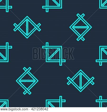 Green Line Picture Crop Photo Icon Isolated Seamless Pattern On Blue Background. Vector