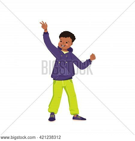 A Dark Skinned Boy In A Sweatshirt, Jeans And Sneakers Smiles. Happy Child With Curly Black Hair. Af