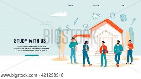 College And University Graduation Web Banner Concept With Young Students And Scholars, Flat Vector I