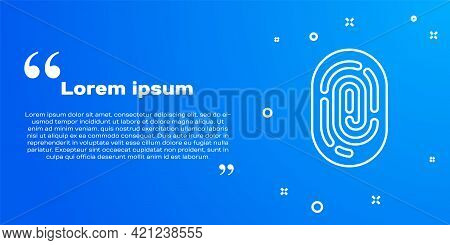 White Line Fingerprint Icon Isolated On Blue Background. Id App Icon. Identification Sign. Touch Id.