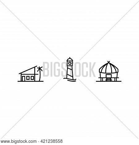 Beach Theme Building Icon Line Style Contain Lighthouse, Hut And Beach House