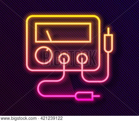 Glowing Neon Line Ampere Meter, Multimeter, Voltmeter Icon Isolated On Black Background. Instruments