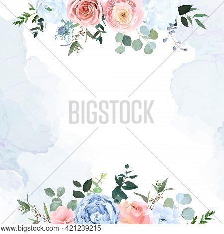 Dusty Blue And Peachy Blush Rose, White Hydrangea, Ranunculus, Eucalyptus, Greenery