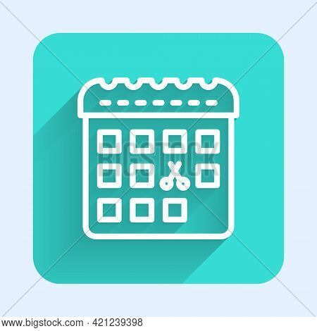 White Line Calendar With Haircut Day Icon Isolated With Long Shadow. Haircut Appointment Concept. Gr