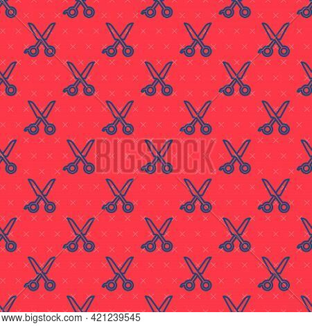 Blue Line Scissors Hairdresser Icon Isolated Seamless Pattern On Red Background. Hairdresser, Fashio