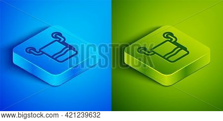 Isometric Line Towel On A Hanger Icon Isolated On Blue And Green Background. Bathroom Towel Icon. Sq