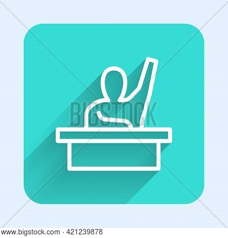White Line Active Male Kid Raising Hand Answering To Teacher Question Icon Isolated With Long Shadow