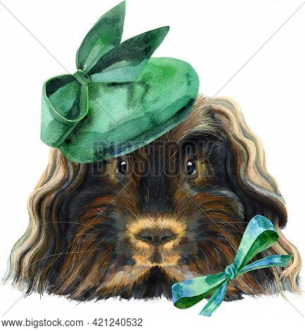 Cute Cavy In Green Hat With Bow. Pig For T-shirt Graphics. Watercolor Merino Guinea Pig Illustration