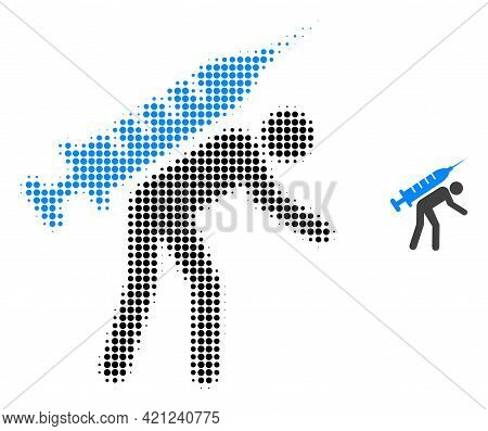 Vaccine Courier Halftone Dot Icon Illustration. Halftone Array Contains Round Elements. Vector Illus