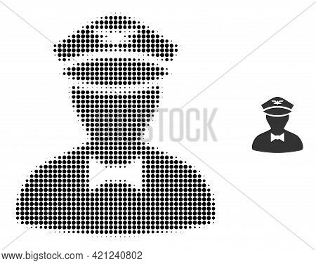 Flying Attendant Halftone Dotted Icon Illustration. Halftone Array Contains Round Elements. Vector I