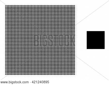 Square Shape Halftone Dotted Icon Illustration. Halftone Pattern Contains Round Dots. Vector Illustr