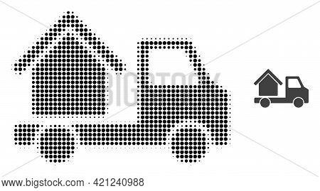 House Trailer Halftone Dot Icon Illustration. Halftone Pattern Contains Round Pixels. Vector Illustr