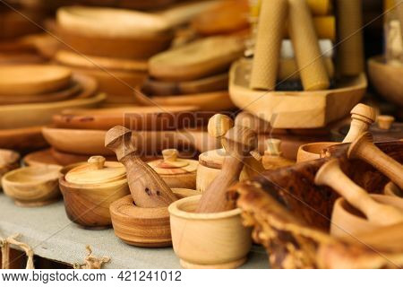 Eco-friendly Wooden Cookware Biodegradable Recycle Cookware. Rustic Handmade Clean Ecology Tools.