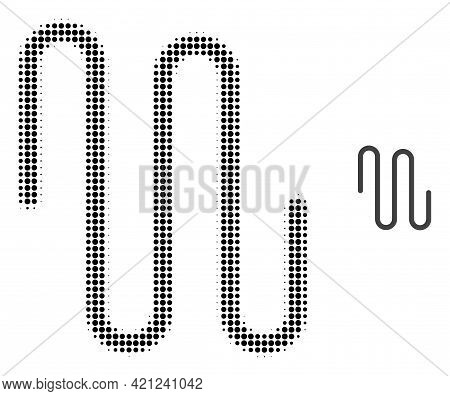 Pipe Halftone Dotted Icon Illustration. Halftone Array Contains Circle Pixels. Vector Illustration O