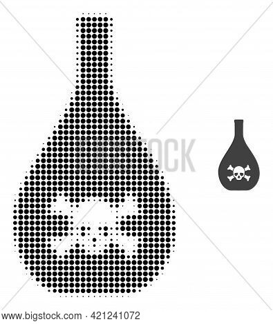 Poison Jug Halftone Dotted Icon Illustration. Halftone Pattern Contains Round Elements. Vector Illus