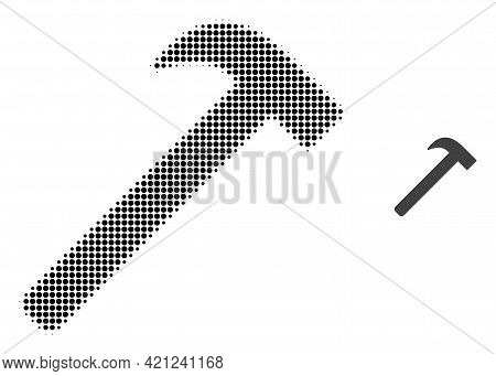 Hammer Tool Halftone Dotted Icon Illustration. Halftone Pattern Contains Round Elements. Vector Illu