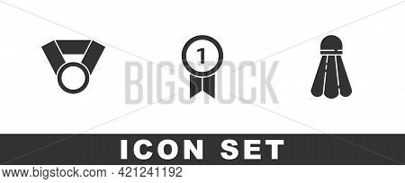 Set Medal, And Badminton Shuttlecock Icon. Vector