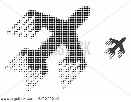 Jet Plane Halftone Dot Icon Illustration. Halftone Pattern Contains Circle Elements. Vector Illustra