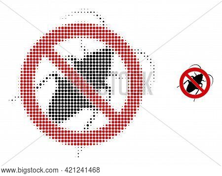 Stop Cockroach Halftone Dotted Icon Illustration. Halftone Pattern Contains Circle Pixels. Vector Il