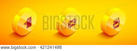 Set Isometric Eagle Head, Flag Confederate And Potatoes French Fries In Box Icon. Vector
