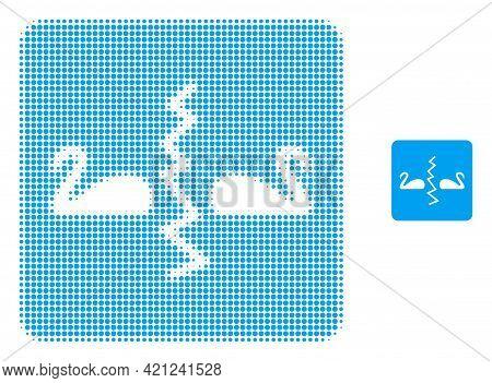 Divorce Swans Halftone Dot Icon Illustration. Halftone Array Contains Round Dots. Vector Illustratio