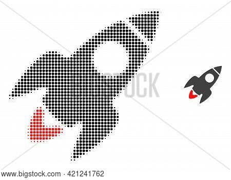 Rocket Flight Halftone Dotted Icon Illustration. Halftone Array Contains Round Pixels. Vector Illust