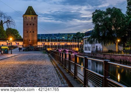 Strasbourg, Alsace, France - May 4, 2019: Sightseeing Of France. Beautiful Night View Of Petite Fran